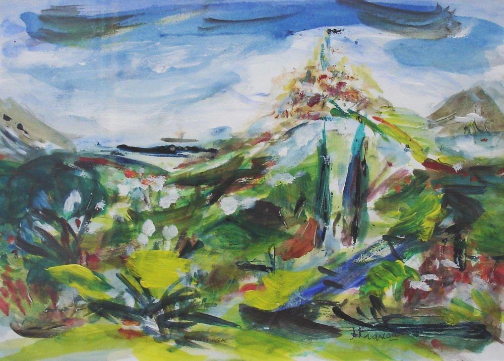Village Sicilien - acrylique