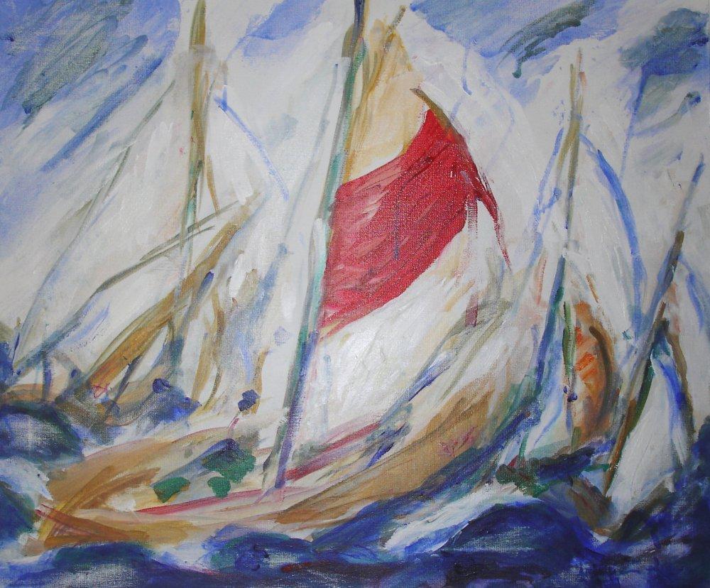 14 Juillet en Mer - acrylique