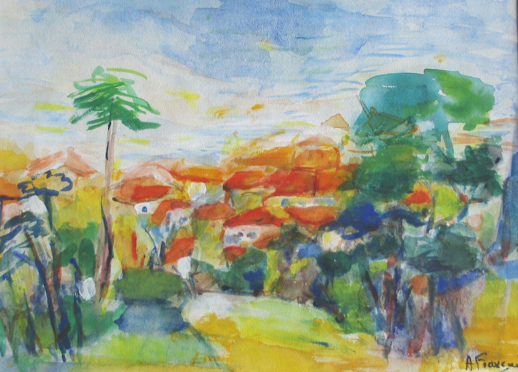 Un Village Méditerranéen - acrylique